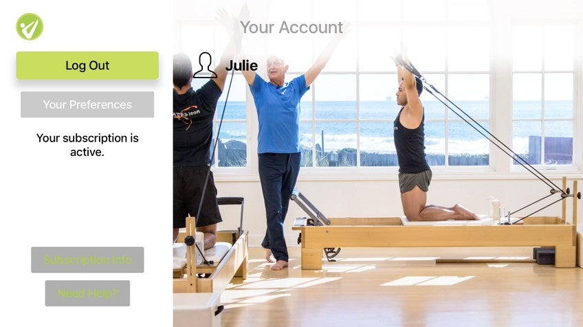 How do I watch Pilates Anytime using Apple TV?