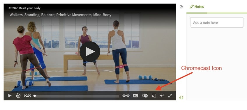 How do I watch Pilates Anytime on my TV using Chromecast?